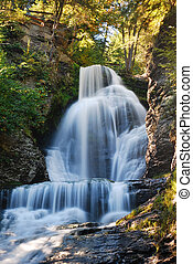 Autumn Waterfall - Waterfall of Digman Falls with rock and...