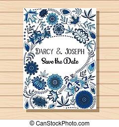 Autumn wedding invitation blue on wooden background