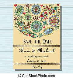 Autumn wedding invitation on wooden background