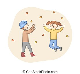 Autumn Weekend Time Leisure Concept. Characters Enjoying Autumn Weather In a Park. Man And Woman Have A Good Time. Joint Weekend Active Pastime. Cartoon Linear Outline Flat Style. Vector Illustration