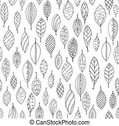 Autumn white and black seamless stylized leaf pattern in...
