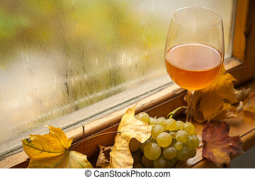 Autumn white wine - Glass of white wine standing on ...