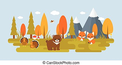 autumn wild with tree and animals in flat design such as bear, turkey, foxes, bird, mushroom, pine and grass. suitable for thanksgiving holiday concept