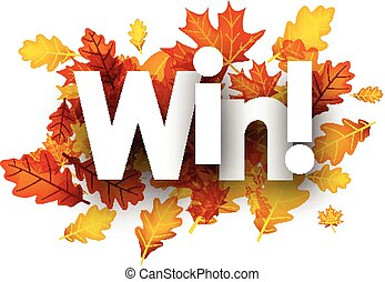 Autumn win background with leaves. - Win autumn background...