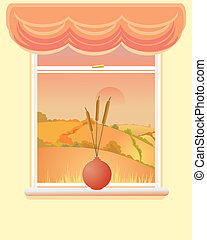 autumn window - an illustration of a window with an autumnal...