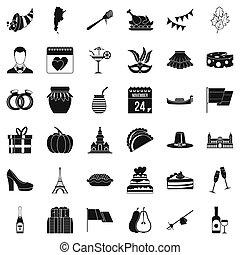 Autumn wine icons set, simple style