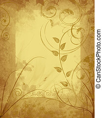 Autumn Wisps Frame - Floral wisps in autumn tones framed...
