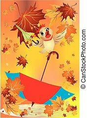 autumn with an umbrella,