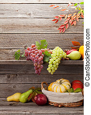Autumn with pumpkins and fruits