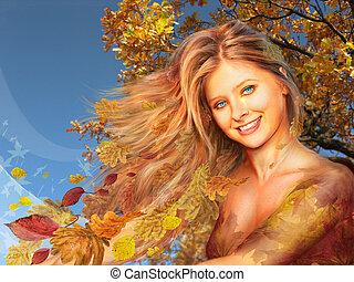 autumn woman collage