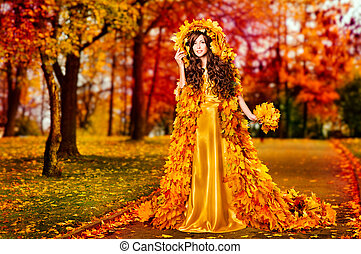 Autumn Woman Fall Leaves Dress Walking In Fairyland Forest, Fashion Girl Yellow Gown