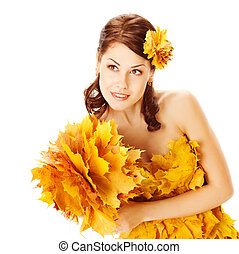 Autumn woman in dress of maple leaves over white