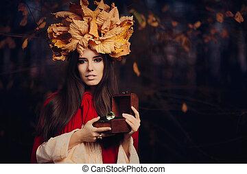 Autumn Woman with Jewelry Box