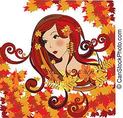 Autumn women, vector illustration