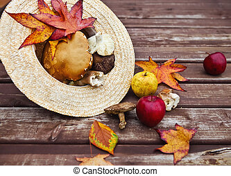 Autumn wooden background with maple leaves