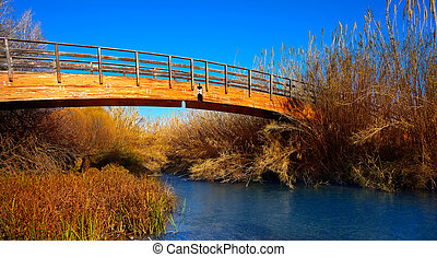 Autumn wooden bridge from Turia park Valencia