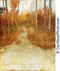 Autumn Woods Trail on Grunge Background - Trail in the...