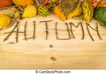 Autumn word and agricultural harvest