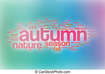 Autumn word cloud with abstract background