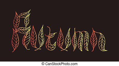 Autumn Word with Doodle elements, vintage style, gradient color