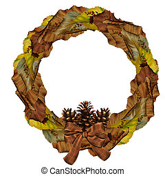 Autumn Wreath - a wounderful Autumn Wreath - isolated on...