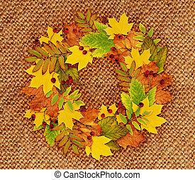 Autumn wreath on canvas