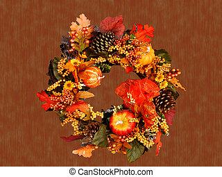 Autumn wreath on grunge background