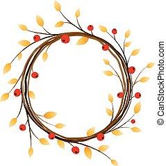 Autumn wreath on white background