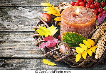 Autumn wreath with candle