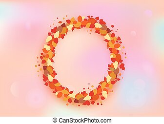 Autumn wreath with leaves. Vector illustration.