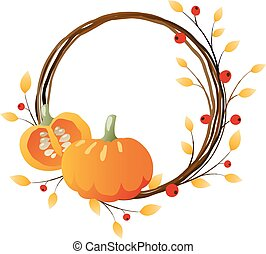 Autumn wreath with pumpkins