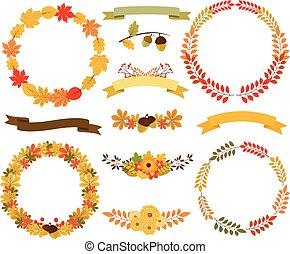 Autumn wreaths of leaves