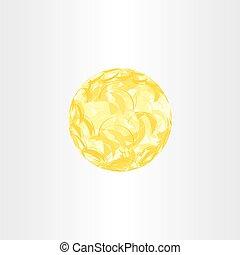 autumn yellow abstract globe circle background
