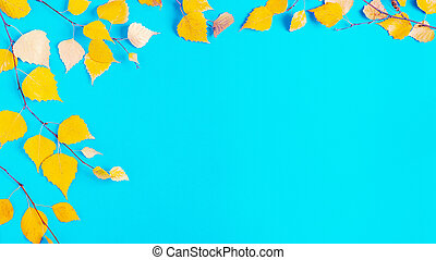 autumn yellow leaves on blue background
