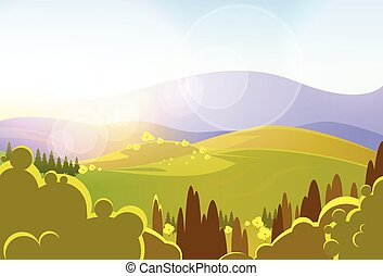 autumn yellow mountains tree valley landcape vector