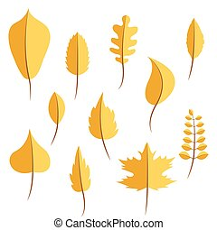Autumn yellow withered leaves in flat style set