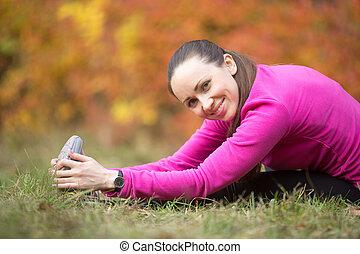 Autumn yoga: Seated Hamstring Stretch pose
