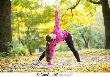 Autumn Yoga: Triangle pose