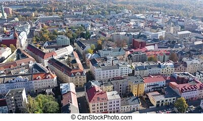 Aerial view of old town buildings of Czech city of Ostrava