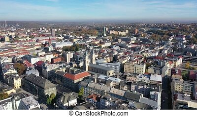 View from drone of old houses of Czech town Ostrava in sunny fall day