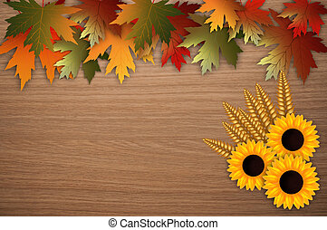 Autumnal background - illustration of leaves and sunflowers...