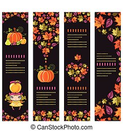 Autumnal banners 2 - Colorful Autumnal banners with fall...