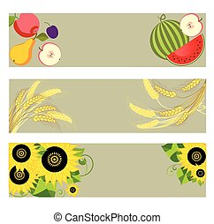 Autumnal banners with watermelon