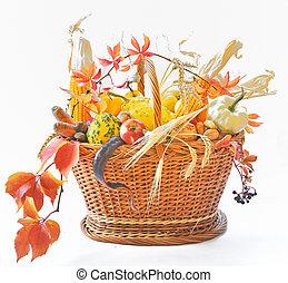 Autumnal basket over white