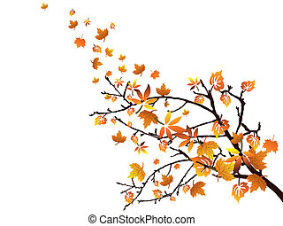 Autumnal branch - Vector illustration of colorful leaves on...