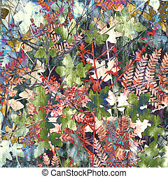 Autumnal - Colorful design of mixed plants in autmn colors