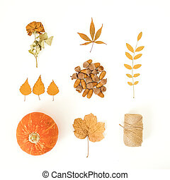 Autumnal composition. Fall leaves, pumpkins and acorns with twine on white background. Thanksgiving day concept. Flat lay