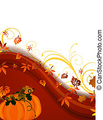 Autumnal design - Vector illustration of pumkins on a floral...