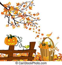 Vector illustration of pumpkins on an autumnal background