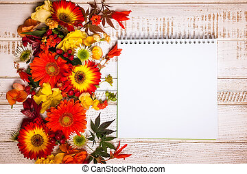 Autumnal flowers and berries - Blank notepad and autumnal ...